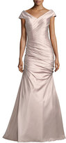 La Femme Sleeveless Ruched Satin Gown, Champagne