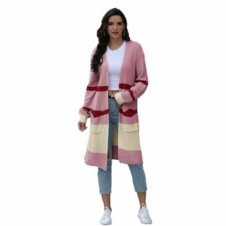 HanPaint Long Color-Block Knitted Cardigan Women Autumn Pocket Sweater Woman Casual Cardigans Apricot M