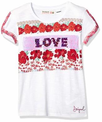 Desigual Girl Knit T-Shirt Short Sleeve (ts_dakotadel) White (White 1000) 140 (Size: 9/10)
