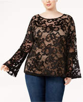 INC International Concepts Plus Size Lace Bell-Sleeve Blouse, Created for Macy's
