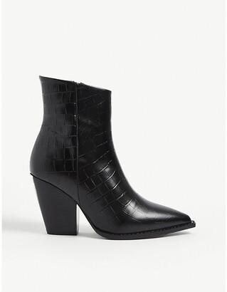 The Kooples Crocodile-embossed leather heeled ankle boots