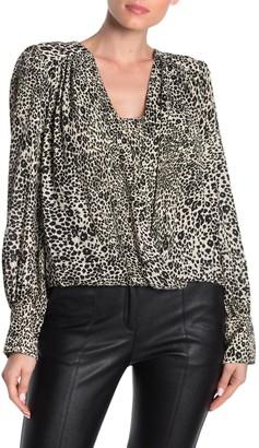 BCBGMAXAZRIA Cheetah Print Drape Blouse