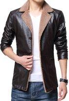 URBANFIND Men's Slim Fit Fur Neck Lined PU Leather Jacket US S