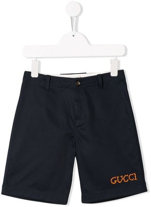 Gucci Kids logo embroidered tailored shorts