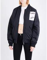 Boy London Tape-print shell bomber jacket