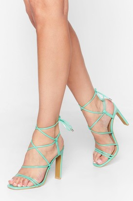 Nasty Gal Womens Oh Tie There Strappy Faux Leather Heels - green - 3