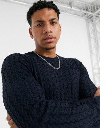 ASOS DESIGN muscle fit lightweight cable jumper in navy