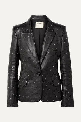 L'Agence Montegoi Studded Leather Blazer - Black