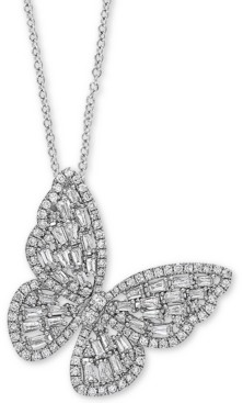 """Effy Diamond Butterfly 18"""" Pendant Necklace (1-3/8 ct. t.w.) in 14k White Gold"""