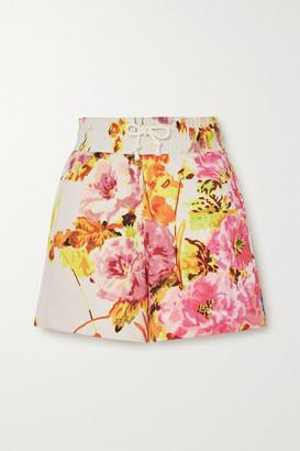 Dries Van Noten Floral-print Cotton-jersey Shorts - Ecru