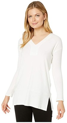 Vince Camuto Long Rib Sleeve V-Neck Cozy Tunic (Pearl Ivory) Women's Clothing