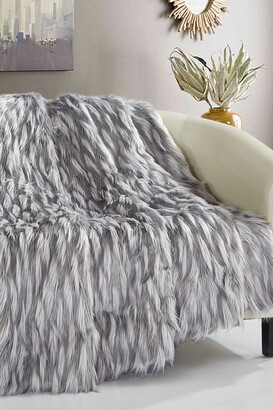 "Chic Home Bedding Levida Two-Tone Faux Fur Blanket - 50"" x 60"" - Grey"
