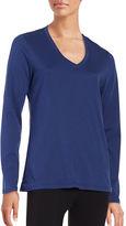 Lord & Taylor Knit V-Neck Long-Sleeve T-Shirt
