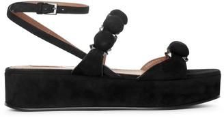 Alaia Bombe 45 black suede flatform sandals