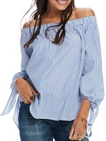 Scotch & Soda Stripe Off-the-Shoulder Shirt