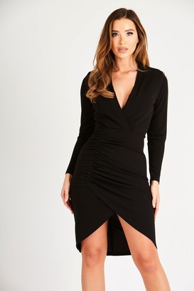 Skirt & Stiletto Black Long Sleeve Ruched Midi Dress