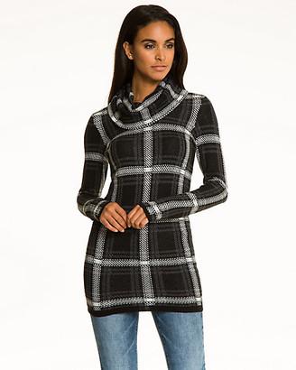 Le Château Check Cotton Blend Cowl Neck Sweater