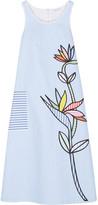 Mira Mikati Bird Of Paradise Appliquéd Striped Cotton-twill Midi Dress - Light blue