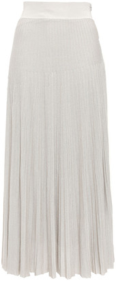 CASASOLA Metallic Ribbed-knit Midi Skirt