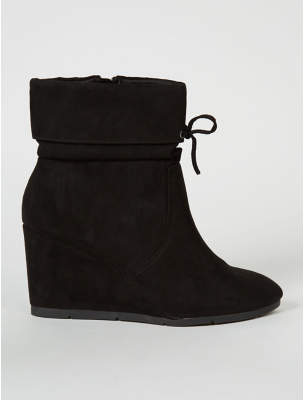 George Black Suede Effect Fold Top Wedge Boots