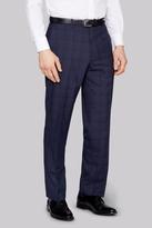 Moss Esq. Regular Fit Blue Check Trousers