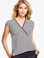 Talbots V-Neck Silk Blouse- Geo-Lattice