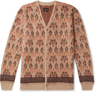 Needles Intarsia Mohair-Blend Cardigan - Men - Neutrals
