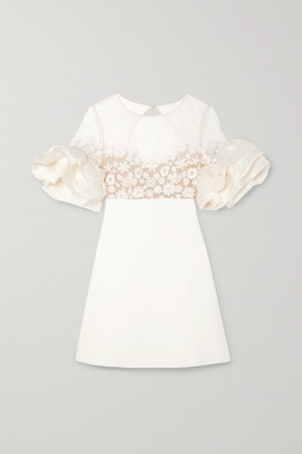 Rime Arodaky Astaire Embroidered Tulle, Crepe And Organza Mini Dress - White