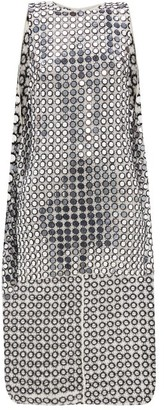 Ashish Shisha-mirror Embroidered Cape-back Mini Dress - White Silver