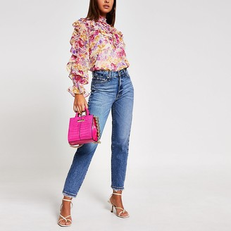 River Island Pink floral frill long sleeve blouse