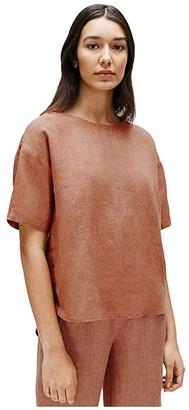 Eileen Fisher Jewel Neck Elbow Sleeve Box Top (Cinnamon) Women's Clothing