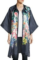 Johnny Was Malani Floral-Print Button-Front Long Tunic, Navy, Plus Size