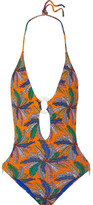 Emilio Pucci Cutout Printed Halterneck Swimsuit - Saffron