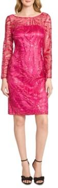 Tahari ASL Embroidered Sequinned Sheath Dress