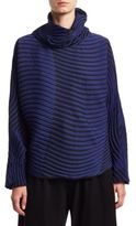Issey Miyake Wave Print Mockneck Sweater