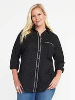 Old Navy Piped-Trim Pin Dot Plus-Size Tunic Shirt