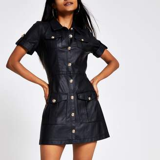 River Island Womens Petite Black faux leather shirt dress