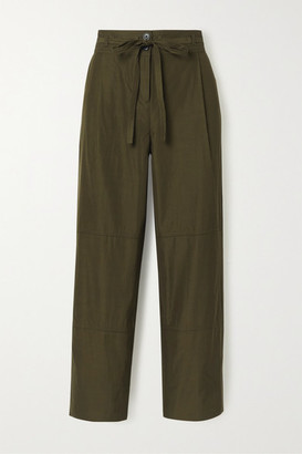 Jason Wu Belted Cropped Woven Wide-leg Pants - Army green