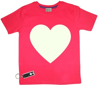 Little Mashers - Glow In The Dark Interactive T-Shirt - Heart Design Red Adult - Adult Small - Red/White