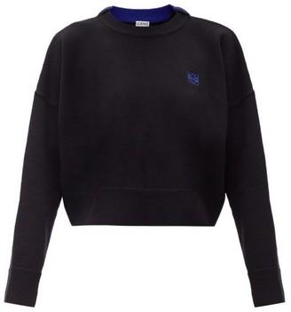 Loewe Cropped Anagram-embroidered Wool Sweater - Black