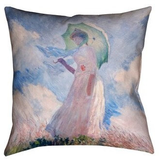 August Grove Elwyn Watercolor Woman with Parasol Outdoor Throw Pillow