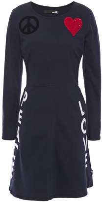 Love Moschino Embellished Printed Cotton-blend Twill Mini Dress