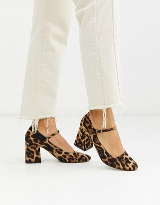 ASOS DESIGN Stories mary-jane mid heels in leopard