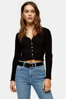 Topshop Womens Petite Black Long Sleeve Ribbed Lace Trim Cardigan - Black