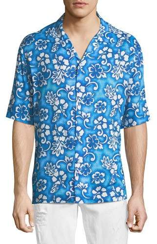 DSQUARED2 Hibiscus-Print Short-Sleeve Shirt