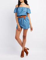 Charlotte Russe Chambray Off-The-Shoulder Romper