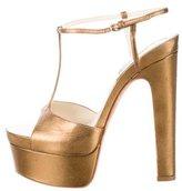 Brian Atwood Metallic Platform Sandals