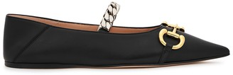 Gucci Deva Horsebit-embellished Leather Flats