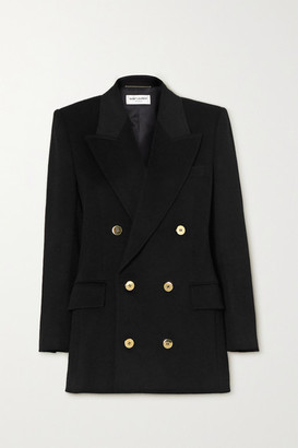 Saint Laurent Double-breasted Wool And Cashmere-blend Blazer - Black