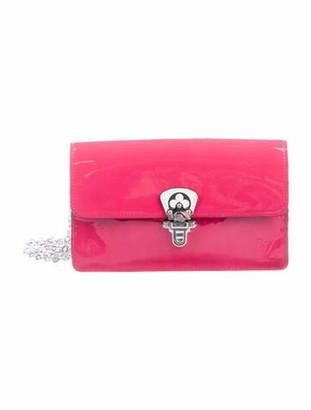 Louis Vuitton 2019 Vernis Cherrywood Chain Wallet Magenta